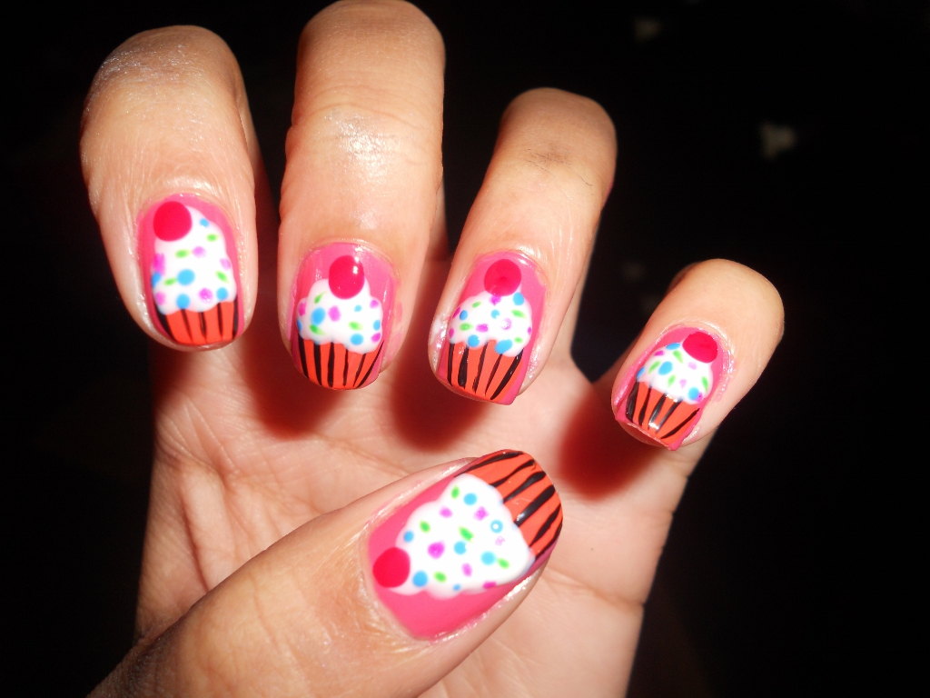 Cute Cupcake Nail Tutorial How To Paint Cupcake Nail Designs Offbeat Look