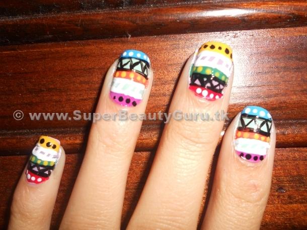 Simple Tribal Nail Art Design