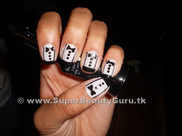 Step by step tuxedo nails