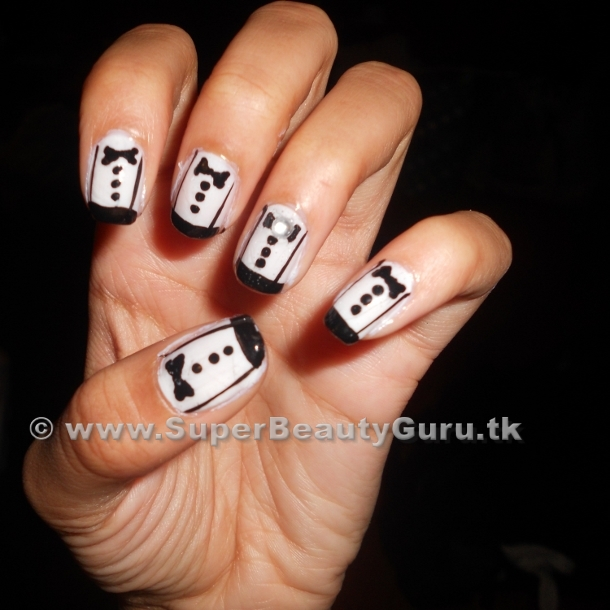 Tuxedo Nail Tutorial: How To Paint Tuxedo Nail Designs | Offbeat Look