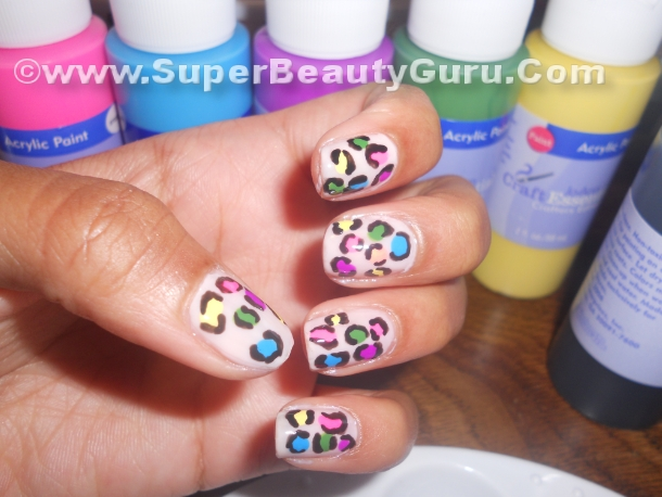 Colorful Acrylic Paint Nail Designs