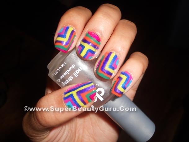 Colorful Geometric nail design tutorial