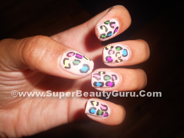 colorful leopard print nail look