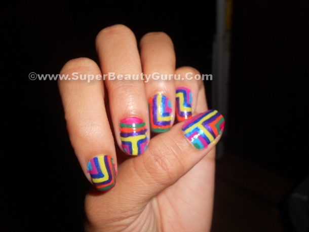 colorful neon fingernails