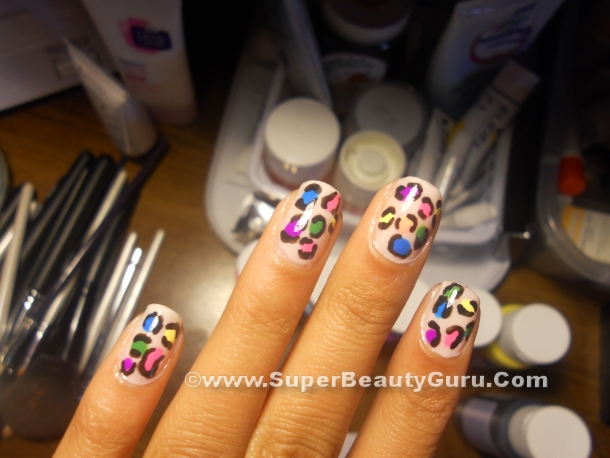 how to paint leopard print nails
