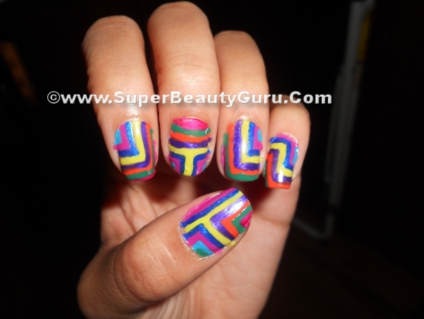 step by step colorful nail tutorial