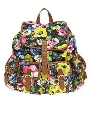 asos floral print backpack