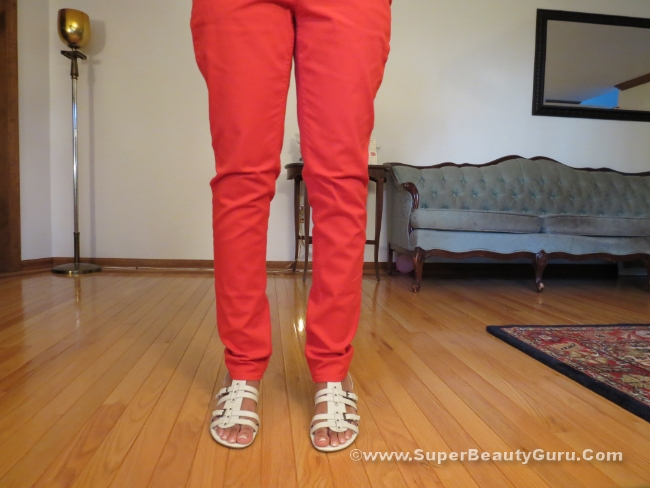red skinny straight leg jeans