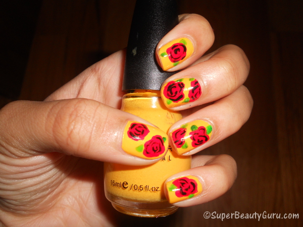 How to Paint Roses on Nails