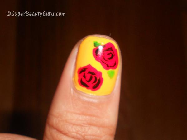 Rose Floral Nail Art