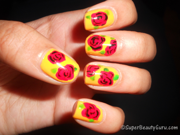 How to Create a Simple Rose Nail Design on Your Nails (Easy ...