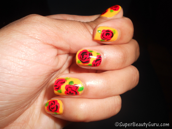 Vintage Red and Yellow Roses on Nails