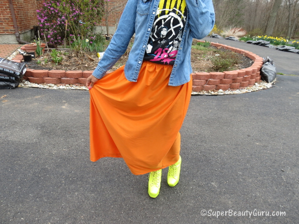 Bright orange maxi skirt