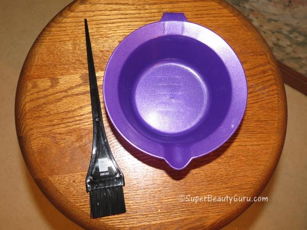Hair dye mixing bowl and brush
