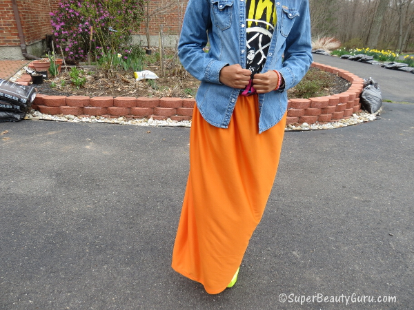 diy home made maxi skirt orange