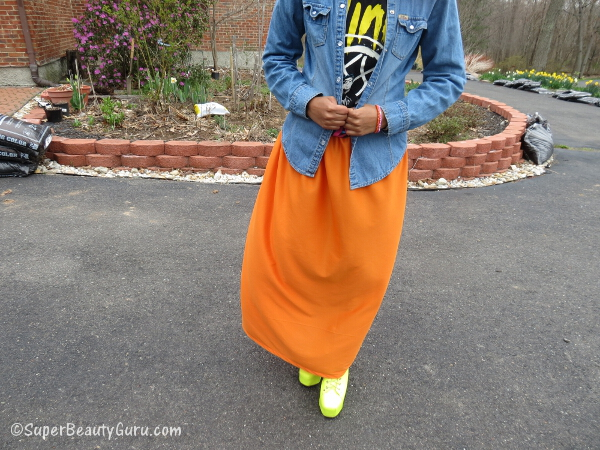 neon orange maxi skirt