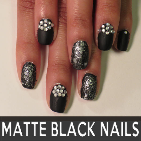 Matte black nail design tutorial offbeat look matte black nails prinsesfo Choice Image