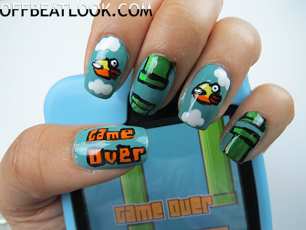 Flappy Bird Nail Tutorial