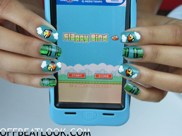 Flappy Bird Nails tutorial